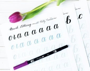 a - z Brush Lettering Worksheets: Lowercase Alphabet for Large Brush Pens