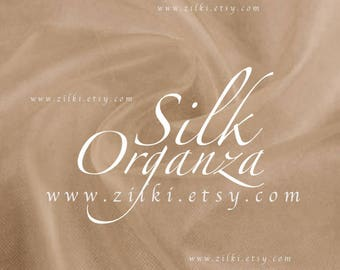 Solid Tan Organza silk tulle fabric by the yard