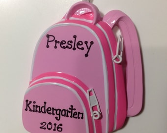 Personalized Pink Backpack- First Day Of SchoolPreschool, Kindergarten, Elementary , Middle School Christmas Ornament