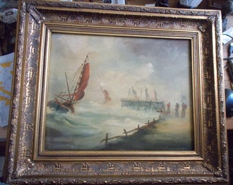 "Oil on canvas mounted on wood panel ""marine"" gilt wood frame signature: gianasso de troie"