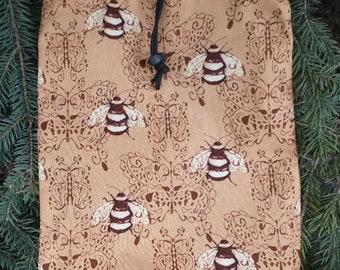 Flat drawstring bag, flat drawstring travel bag, flat bag for Rummikub tiles, Bees, The Flatie Jr