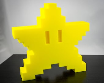 Super Mario Bros 8 bit Star Christmas Tree Topper