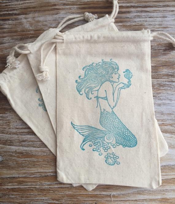 Wedding Favor Ideas Little Mermaid: 10 Mermaid Favor Bags Mermaid Party Favors Beach Wedding