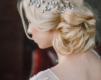 Wedding Headpiece, Bridal Hair Piece, Bridal Headpiece, Wedding Hairpiece, Crystals Hair Vine, Bridal Hairpiece, Wedding Halo- NERINE