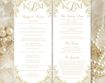 "Printable ""Kaitlyn"" Wedding Program Template Champagne Order of Service Ceremony Program Instant Download All Colors Available DIY U Print"