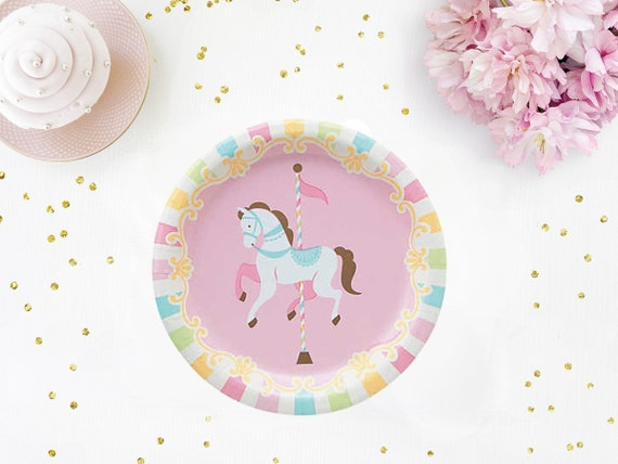 Carousel Horse Paper Plates - Carousel Tableware Carousel Birthday Party Carousel Party Decor Carousel Party Decorations from Pelemele on Etsy Studio  sc 1 st  Etsy Studio & Carousel Horse Paper Plates - Carousel Tableware Carousel Birthday ...