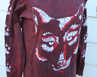 Wolf Face Batik Organic Long Sleeve T-Shirt. Unisex Small. Red and White. Hand Drawn, Hand Dyed.