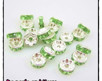 10-pcs-Pearl 6 mm spacer with 6mm Green rhinestone silver rondelle