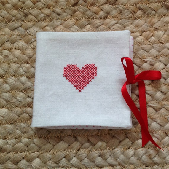 Hearts needle book, red, petit point, cross stitch, embroidery, white, vintage linen, polka dot