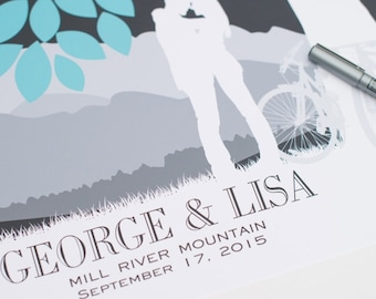 Wedding Tree Guestbook // Personalized Canvas or Art Print Skyline & Silhouette Keepsake // 100+ Signature Guestbook // W-T05-1PS HH3