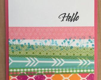 Pink Hello Handmade Card