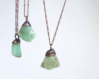 Chrysoprase Necklace - Stone Necklace - Crystal Necklace - Copper Stone Necklace - Electroformed Necklace