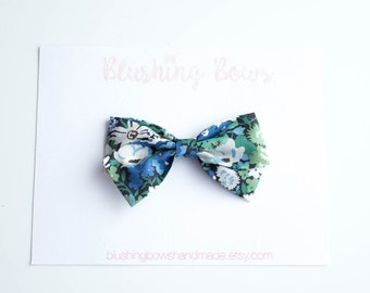 Blue Floral Liberty of London Fabric Bow, Hand Tied Fabric Bows, Baby Girl, Toddler, Girls Fabric Bow Headband or Hair Clip