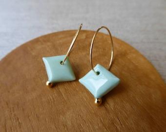 Diamond & Gold Ball Hoop Earrings