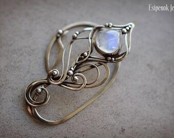 Wrapped nickel silver ear cuff Beauty gift Dainty fairy ear cuff Elf moonstone wire wrapped jewelry Elf fantasy inspired jewelry Cuff wrap