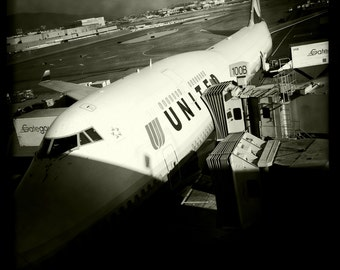 Boeing 747 Parked at Gate San Francisco Airport with Jet Bridge, Airline Decor, Aviation, 10x10 Photograph, Aircraft, Airplane
