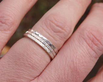 Stackable Rings, Sterling Silver, Set of Three, Textured Bands, Square Wire, Minimalist Jewellery, Stacking Rings