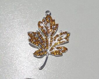 50mm*40mm, Golden Yellow Leaf Rhinestone Pendant, Fall Leaf, Autumn Leaves, P10