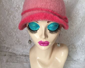 Pink and Corral Vintage Inspired Crocheted Felted Cloche Flapper Hat 'Carrie Bell'