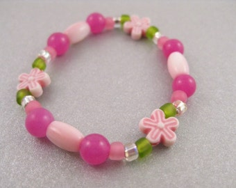 Pink and Green Bracelet with Pink Flowers, Small Girls Stretch Bracelet, GBS 101