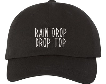 Rain Drop Drop Top  Hat Embroidered Baseball Cap Dad Hat Low Profile Curved Bill Hat, Black