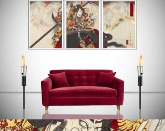Samurai Warrior Taira Masakado Japan 3 Panel Triptych Poster Wall Art Print