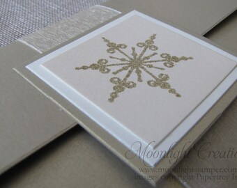 Snowflake Wedding Invitation Handmade Pocketfold Deposit Listing