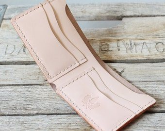 Natural Veg Tan Leather Wallet / Mens Leather Wallet / USA Made Wallet