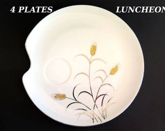 Vintage Wheat Luncheon Snack Plates Lipper Mann Gold Silver L & M