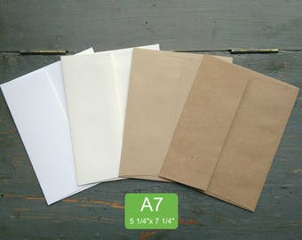 "100 A7 or 5x7 Envelopes, 100% Recycled Invitation/Greeting Card Envelopes, 5 1/4"" x 7 1/4"", White, Natural White, Light or Kraft Brown"