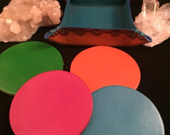 Custom Leather Coaster Set (4) with Tooled Leather Tray