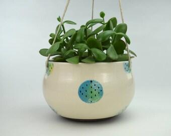 Handmade Ceramic Hanging Planter // Large Indoor Hanging Planter // Ceramic Plant Pot // DOTS PLANTER // Ready to Ship