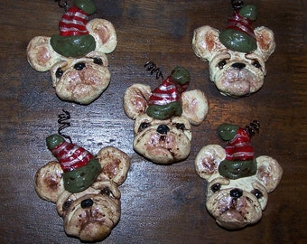 Folk Art Bakers Clay French Bulldog Dog Frenchie Ornaments 5 Feather Tree Ornaments Miniatures