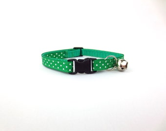 Green Polka Dots Cat Collar