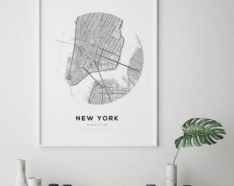 New York City Map, NY Map Art, Modern Minimalist, NYC Map Poster, NYC, Printable Wall Art, New York City, Digital Print, Manhattan Map Print