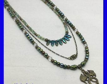 Multi-strand Avant Garde Dragon Necklace / Fantasy Necklace / Green hematite / Antique Brass Dragon / Fantasy Lover Jewelry / One of a Kind