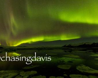 Digital - Northern Lights over Jokulsarlon Glacier Lagoon, Iceland - 2018