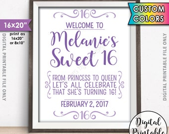 """Sweet 16 Sign, Custom Sweet Sixteen Welcome Sign, Sixteenth Birthday, Custom Color 16th Birthday Welcome Poster, 8x10/16x20"""" Printable Sign"""