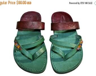 Multi Color Decor Moon Leather Sandals For Men & Women - Handmade Sandals, Genuine Leather Flats, Leather Flip Flops, Green Unisex S