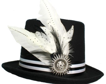 Black Wool Top Hat Old Hollywood Gothic Steampunk Traveler Mens Cosplay Striped