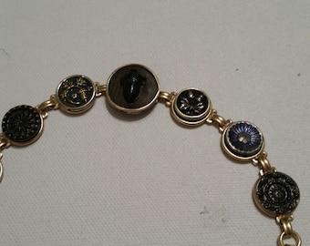 Antique ACORN BUTTON BRACELET 19th century Victorian buttons with original  blue tint Glass Acorn