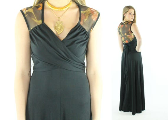 70s Black Knit Maxi Dress Sheer Floral Red Sleeveless Wrap