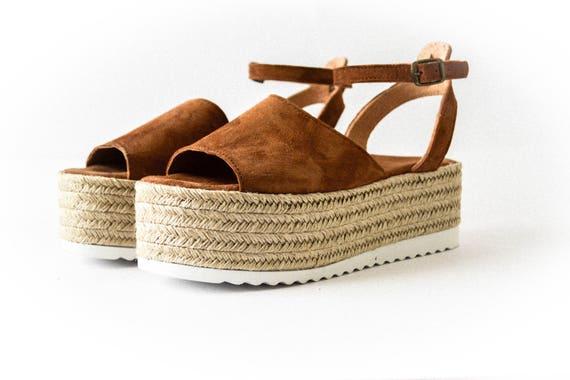 wedge sandals flatform Espadrille sandals genuine sandals espadrille Sandals Suede greek Flatform leather sandals suede TwAqwnOp