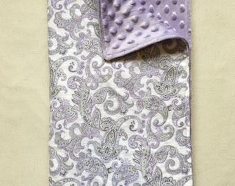 Minky Baby Blanket - Purple and Grey Paisley Flannel / Purple Minky