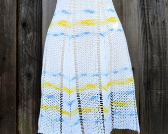 Vintage Crocheted Apron, White with Blue and Yellow Stripes, 1950s