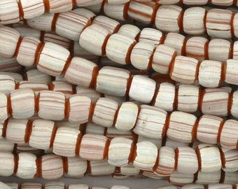 Seed Beads-5mm Handmade Glass-Indonesia-Terra Cotta White Stripe-Quantity 1
