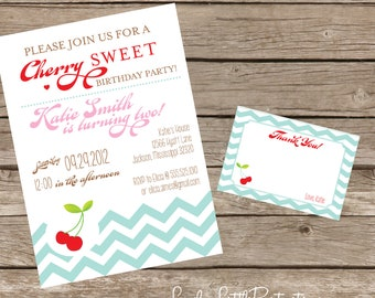DIY Printable Cherry Birthday Invitation Kit - Invite AND Thank You Card included
