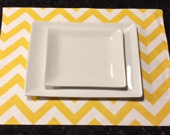 Custom Placemats | Chevron Zig Zag Corn Yellow | Table Linens