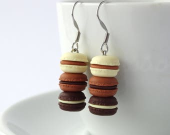 Cute stacked chocolate vanille mocca macaron dangle earrings kawaii miniature food charms macarons accessory cute colourful earrings