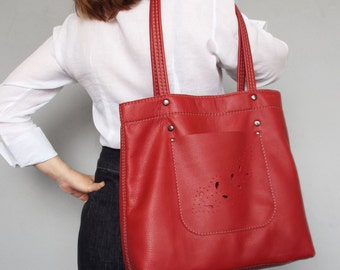 Red leather tote bag. Red leather tote. Summer leather bag. Leather handbag. Leather shoulder bag.